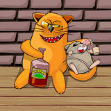 Cat and mouse drinking valerian. Red cat and mouse in the basement drinking valerian. Mouse drunk. cat look tricky, he shows his teeth and claws. Cartoon Stock Photos