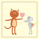 A cat and a mouse exchanging gifts Stock Images
