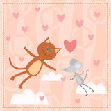Cat and mouse falling in love Royalty Free Stock Photos