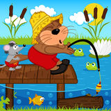 Cat mouse fishing. Vector illustration, eps Stock Photos