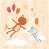 Cat and mouse flying with balloons Stock Image