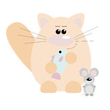 Cat and Mouse Happy Royalty Free Stock Image