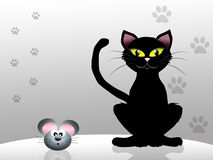 Cat and mouse. Illustration of black cat and mouse Royalty Free Stock Photography