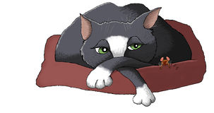 Cat and mouse. Illustration of a cat sharing a bed with a sleeping mouse isolated against a white background stock illustration