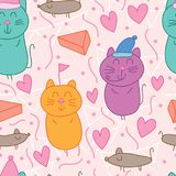 Cat mouse party pastel color seamless pattern. This illustration is abstract cat busy dreaming of party, in meantime no caught mouse, mouse walk around in Stock Photo