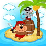 Cat mouse pirate Royalty Free Stock Images