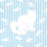 Cat and mouse. Seamless ornament. composed of cat and lots of little mice around him. the design on the blue background stock illustration