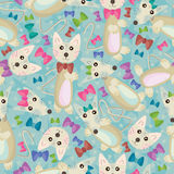 Cat And Mouse Seamless Pattern_eps. Illustration of hand drawn cartoon cat and mouse with ribbon seamless pattern Stock Photos