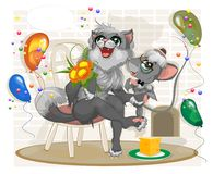 The cat and mouse sit on a chair surrounded by balloons and conf vector illustration