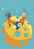 The cat and mouse sitting on the moon. The illustration.  The cat and mouse sitting on the moon in spacesuits. They have a picnic on a table cloth are plates of Royalty Free Stock Image