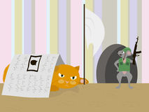 Cat and mouse. War of mouse and cat in humor style royalty free illustration