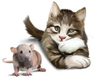 A cat and a mouse. Watercolor painting stock illustration