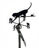 Cat with Mouses Weather Vane on White. Cat with mouses weather vane silhouetted isolated on a white background stock image