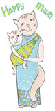 Cat mum sling color Royalty Free Stock Photos