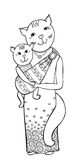 Cat mum sling. Cute cat with a kitten in a sling, a happy mother, a bright dress with a pattern of paisley, cartoon in black and white Royalty Free Stock Photos