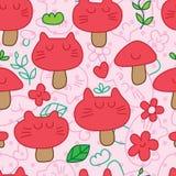 Cat mushroom seamless pattern Stock Photo