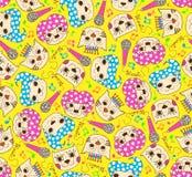 Cat music band seamless pattern.  Vector Illustration