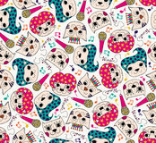 Cat music band seamless pattern stock illustration