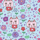 Cat music flower seamless pattern Stock Image