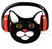 Cat music headphones Royalty Free Stock Photo