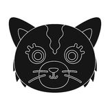 Cat muzzle icon in black style isolated on white background. Animal muzzle symbol stock vector illustration. Cat muzzle icon in black design isolated on white Royalty Free Stock Photos