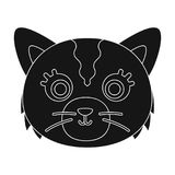 Cat muzzle icon in black style isolated on white background.. Cat muzzle icon in black design isolated on white background. Animal muzzle symbol stock vector Stock Photography