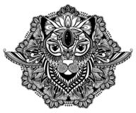 Cat mystic and mandala tattoo.Black color in white background. Decorative graphic drawing. Isolated design sign. Cat mystic and mandala tattoo. Black color in stock illustration