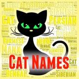 Cat Names Represents Pedigree Pets och kattdjur vektor illustrationer