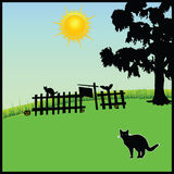 Cat in the nature vector illustration Royalty Free Stock Images