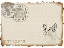 Cat new year. 2011 New year of the cat theme in vintage style with copyspace for your text Royalty Free Stock Photography