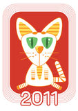 Cat .New Year symbol for text Royalty Free Stock Photography
