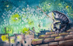 Cat. Night city scene-cat fishing on the roof.Watercolors illustration stock illustration