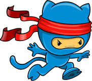 Cat Ninja Vector Illustration. Warrior Cat Ninja Vector Illustration Royalty Free Stock Images