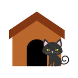 Cat nose funny animal brown house. Illustration eps 10 Royalty Free Stock Photography