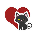 Cat nose funny animal red heart Stock Image