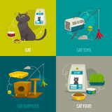 Cat objects square compositions, vector cartoon illustration, pet care concepts. Food toys and stuff Royalty Free Stock Image