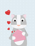 Cat opens a love letter. A cute gray cat is opening a pink love letter stock illustration