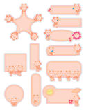 Cat orange cute sticker set Royalty Free Stock Images