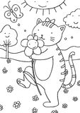 Cat Outdoors Coloring Page. Cute drawing for children to color in Royalty Free Stock Photos