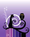Cat and Owl royalty free illustration