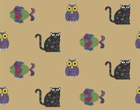 Cat Owl and Fish Seamless Pattern. Background Royalty Free Stock Photo