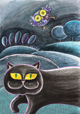 Cat And An Owl smarrita nera Immagini Stock