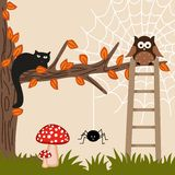 Cat and Owl on Tree Stock Images