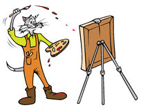 Cat painter Stock Image