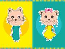 Cat Pair Boy Girl Stock Photography