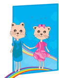 Cat Pair Rainbow Photos stock