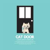 Cat Passing Through The Door para el gato Imagen de archivo libre de regalías