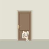Cat Passing Through The Door para el gato Imagenes de archivo