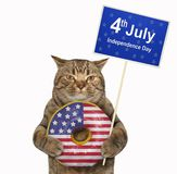 Cat with an american donut 3. The cat patriot is holding a big american donut and a poster -  4th July Independence Day. White background. Isolated stock photo