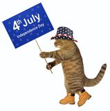 Cat patriot with banner 2. The cat patriot holds a banner with the text ` 4th July Independence Day `. White background royalty free stock image
